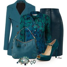 """Teal Pea Coat"" by myfavoritethings-mimi on Polyvore"