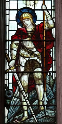 Chancel, north window, by James Powell and Sons, 1900 - Saints George and Christopher : detail Stained Glass Art, Stained Glass Windows, King Richard I, St Georg, Eiffel Tower Lights, Statue Tattoo, Church Windows, Archangel Michael, Saint George
