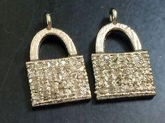 Pave Diamond Charm Pendant Diamond Purse 925 by gemsforjewels
