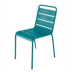 Chaise de jardin en métal bleu canard