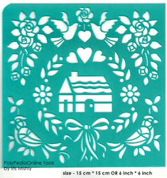 """Stencil Stencils Pattern Template """"Home"""" 6 inch/15 cm, reusable, adhesive, flexible, for polymer clay, fabric, wood, glass, card making"""