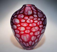 Murrine Glass Art by Michael Waysmith - Wine red with purple filaments.