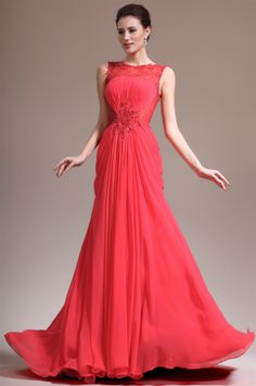 osell wholesale dropship Chiffon Pleated Applique Bateau Sleeveless Court Train A Line Evening Prom Dresses $84.13
