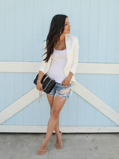 The HONEYBEE // White Blazer + Distressed Cut Offs + Nude Heels