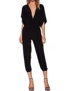 Shop Black Plunge Ruffle Batwing Sleeve Jumpsuit from choies.com .Free shipping Worldwide.$34.99