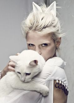 I love it when they make good use of a cat in a fashion editorial. Also, new tattoo idea perhaps? Anja Konstantinova shot by Darren McDonald for Style Stalker.