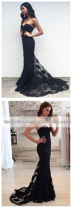 Black mermaid prom dresses, Lace Prom dresses, long prom dresses, Black Bridesmaid dresses, 17101