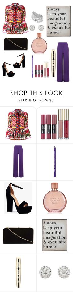"""Untitled #181"" by mamatoodie-1 ❤ liked on Polyvore featuring Dolce&Gabbana, WearAll, NYX, Boohoo, Estée Lauder, Dorothy Perkins, L'Oréal Paris, Accessorize and Effy Jewelry"