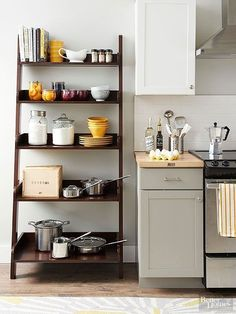 How to style kitchen shelves. You don't have to shell out the big bucks to get a beautifully organized kitchen. These affordable storage solutions let you keep your cash while making your own kitchen storage-rich. Small Kitchen Storage, Kitchen Storage Solutions, Kitchen Pantry, Kitchen Organization, New Kitchen, Kitchen Cabinets, Organized Kitchen, Organization Ideas, Small Pantry