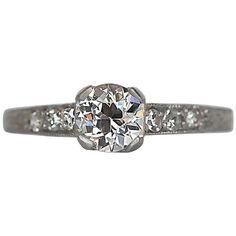 1926 Art Deco .50 Carat GIA Cert Old European Diamond Platinum Engagement Ring | See more rare vintage Engagement Rings at https://www.1stdibs.com/jewelry/rings/engagement-rings