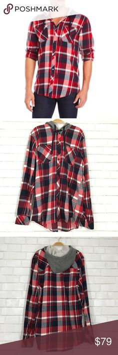 Buffalo David Bitton Saul plaid shirt hoodie Buffalo David Bitton Saul plaid shirt hoodie  Red plaid shirt with gray hoodie size L  Ⓜ️size L  Ⓜ️chest 44 Ⓜ️Length 31.5 Ⓜ️Sleeves 28 Ⓜ️shoulders 20  Button up front, 2 chest pockets, draw string hoodie, 100% cotton, New with tag   ✅bundle  ✅🚭 ✅REASONABLE offers will be considered 👍🏼 🚫No Trading 🙅🏻 Poshmark rules only‼️ Buffalo David Bitton Shirts Sweatshirts & Hoodies