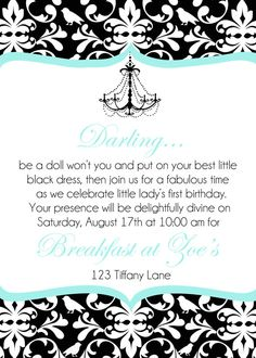 Breakfast at Tiffany's Invite by TopsyTurvyPrintShop on Etsy, $15.00