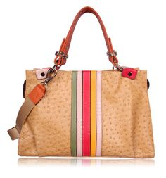 Ladies Yellow Ostrich Print Leather Handbags, satchel/crossbody bag OUOVO LL5002