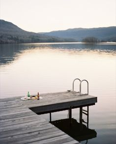 Dock date on a lake.