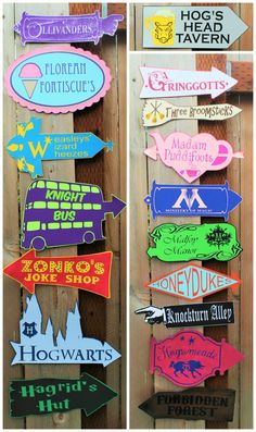 Whimsical Harry Potter inspired directional signs, perfect for any Harry Potter themed party! Each sign is created from layered cardstock and assembled by hand - nothing is printed, thus creating a dimensional look. Signs are very intricate - be sure to zoom in to see details! Some signs I have tried to replicate close to the originals (such as Knockturn Alley, Honeydukes, etc), while others I just had fun with creating designs like Madame Puddifoots, the Knight Bus and Hogwarts. Signs…