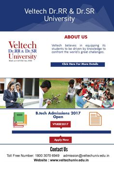 Veltech University B Tech Colleges In India - Check details about VTUEEE B.Tech Admission 2017 such as its exam dates, btech application form, btech exam pattern and btech syllabus