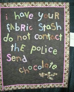 Both of my weaknesses... LOL. Keep the chocolate, I'll take the Studioe Fabrics!