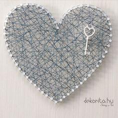 Blue wire heart string art