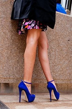 Fashion Week 2011- blue pumps with strap - shoes