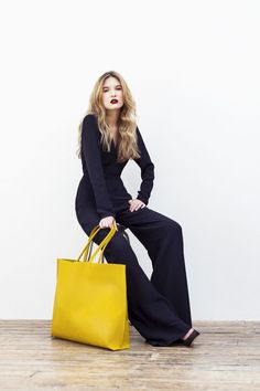 Wilby yellow Primrose vegan tote is made from sustainable cork.