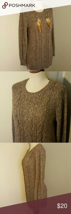 """St. John's Bay Taupe Brown Cable Tunic Sweater S Comfy and cute tunic length sweater from St. John's Bay.  Size small. Taupe brown and cream heathered sweater knit.  Crew neck, cable knit down the front, with ribbed cuffs and hem, and side slits.  Excellent condition, only worn a couple of times. Bust max 38"""", length 32"""". Acrylic, cotton, and polyester blend.  Wear with leggings and boots this Fall and Winter! St. John's Bay Sweaters Crew & Scoop Necks"""
