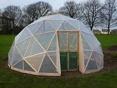Geodesic Greenhouse Dome - I wonder if this would hold up better in the wind tunnel of the midwest that I live in. Geodesic Dome Greenhouse, Aluminium Greenhouse, Geodesic Dome Homes, Greenhouse Shed, Wooden Greenhouses, British Garden, Dome House, Garden Structures, Outdoor Projects