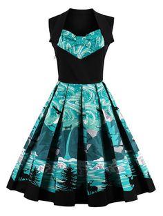 Knee Length Fit and Flare Print Vintage Dress - BLACK 2XL