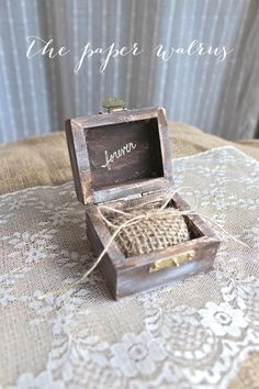Burlap Rustic Ring Bearer Pillow Box - Rustic Weddings - Custom Color Options on Etsy, $19.99