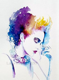 Original Fashion Watercolor Illustration Over the Rainbow