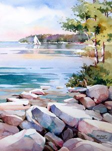 Water_Original Watercolors by Bridget Austin. God bless her; rocks not all brown or gray.