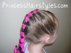 A Faux French Braid, For Those Of You Who Can't. Hairstyles For Girls - Hair Styles - Braiding - Easy Updo Hairstyles, Headband Hairstyles, Pretty Hairstyles, Hairstyle Ideas, Little Girl Hairdos, Girls Hairdos, Ribbon Hairstyle, Ribbon Braids, Childrens Hairstyles