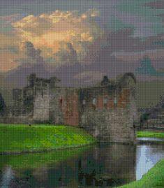Rothesay Castle Scotland Storm Cross Stitch pattern PDF - Instant Download! by PenumbraCharts on Etsy