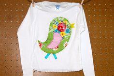 bleu bird applique tee. adorableness from elle+ollie