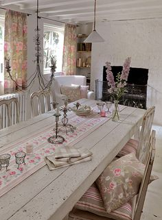Abigail fabric in taupe by Clarke & Clark £45.99 a metre Handmadetomeasure.com.  still thinking of painting dining room table white plus chairs now that it will be used in the farmhouse kitchen.
