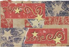 Happy 4th of July, everybody! STARS & STRIPES & SQUIGGLES paper collage art for frame or notecard by MaterialWhirlCollage, $4.99