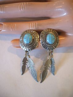 Vintage NAVAJO Sterling Silver Concho TURQUOISE Channel Inlay EARRINGS Feather.  TurquoiseKachina on Etsy, $98.88