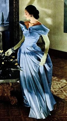 Portrait of a lady in blue in 1948- modess