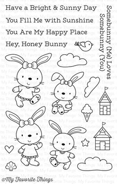 """MFT STAMPS: Beach Bunnies x Clear Photopolymer Stamp Set) This 19 piece set includes: Bunnies 1 x 1 1 x 1 ½"""", 1 x 1 x 1 Huts x x Clouds 1 x x x Bird x Cone x Shell x Heart ¼ Doodle Drawings, Doodle Art, Cute Drawings, Embroidery Applique, Cross Stitch Embroidery, Embroidery Patterns, Coloring Books, Coloring Pages, Doodles"""
