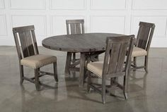 Jaxon Grey 5 Piece Round Extension Dining Set W/Wood Chairs - Top Grey Dining Tables, Pine Dining Table, Dinning Set, Dining Table In Kitchen, Dining Chairs, Wood Chairs, Living Room Accents, Living Room Sets, Living Spaces
