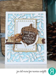Card by Jen del Muro. Reverse Confetti stamp set: Happy Harvest. Confetti Cuts: Happy Harvest, Lacy Scallop Frames and Leaves Cover Panel. RC Cardstock: White Cloud and Iced Aqua. Thanksgiving card. Thank you card. Friendship card.