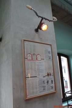 Awe-Inspiring Wall Lamp Design Ideas for Your Room. - Awe-Inspiring Wall Lamp Design Ideas for Your Room. - Barber Vest in Canvas Cream Color with Leather Pockets and Diy Recycle, Recycling, Bar Deco, Bicycle Decor, Bicycle Cafe, Ideias Diy, Bike Art, Lamp Design, Design Design