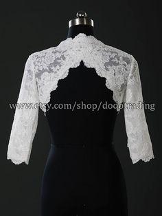3/4 Sleeves Lace Wedding Bolero Jacket with Keyhole by DodoTrading, £59.99