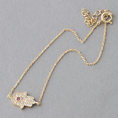 Ruby Swarovski Gold Hamsa Evil Eye Bracelet Sterling Silver