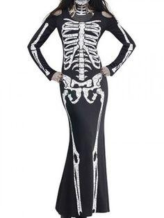 Black Skeleton Print Halloween Bodycon Maxi Dress | Choies