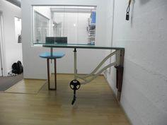 handmade reception desk - bicycle
