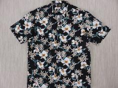 Black Hawaiian Shirt ROYAL CREATIONS Vintage Aloha Shirt Tropical Print Orchids Flower Power Mens 100% Cotton - L - Oahu Lew's Shirt Shack by OahuLewsShirtShack on Etsy