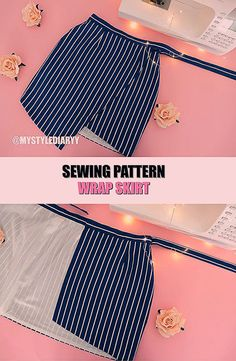 Sewing Projects To Sell Diy Crafts Dress, Diy And Crafts Sewing, Skirt Patterns Sewing, Skirt Sewing, Pattern Sewing, Clothes Patterns, Pattern Skirt, Wrap Pattern, Fashion Sewing