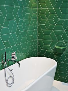 Green geometric tile at Hotel 23 Brussels