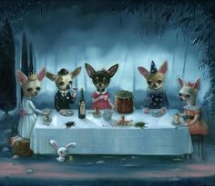 Secret Tea Party/ Small Limited Edition Print on Paper by Ilona Sampovaara