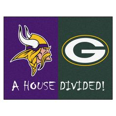 """Minnesota Vikings/Green Bay Packers NFL House Divided Rugs 33.75x42.5 - Big rivalries call for big FANMATS. Made in U.S.A. 100% nylon carpet and non-skid recycled vinyl backing. Machine washable. Officially licensed. Chromojet printed in true team colors.FANMATS Series: HOUSDIVTeam Series: NFL House Divided - Vikings / PackersProduct Dimensions: 33.75""""x42.5""""Shipping Dimensions: 34""""x23""""x1"""". Gifts > Licensed Gifts > Nfl > Green Bay Packers. Weight: 3.40"""
